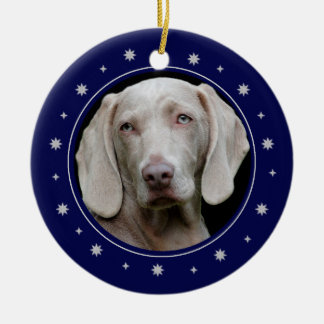 Stars and Gold Heart Blue Frame Pet Memorial Ceramic Ornament