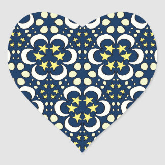 Stars and moon tessellation heart sticker