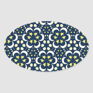 Stars and moon tessellation oval sticker