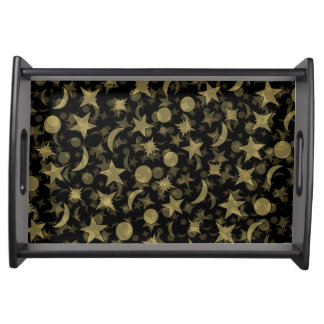 STARS AND MOONS by Slipperywindow Serving Tray
