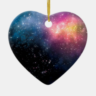 Stars and Nebulas Ceramic Heart Decoration