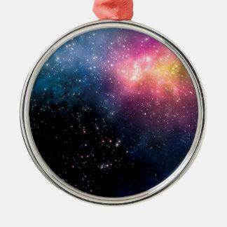 Stars and Nebulas Silver-Colored Round Decoration
