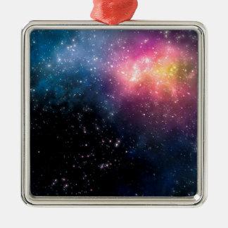 Stars and Nebulas Silver-Colored Square Decoration