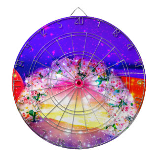 Stars and rainbow of flowers in celebration dartboard