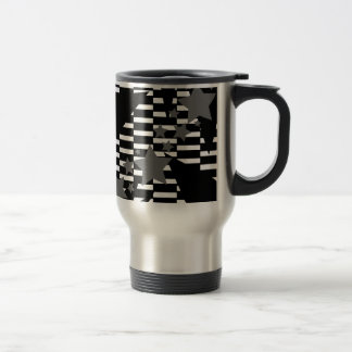 Stars and Rectangles in Grey White and Black Travel Mug