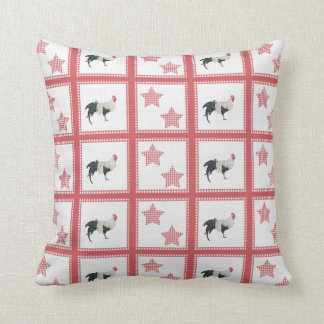 Stars And Roosters Country Decor Throw Pillow