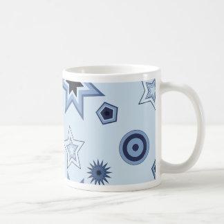 Stars and Shapes in Blue Basic White Mug
