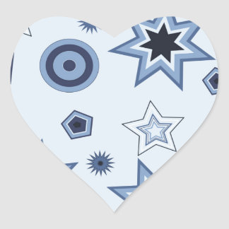 Stars and Shapes in Blue Heart Sticker