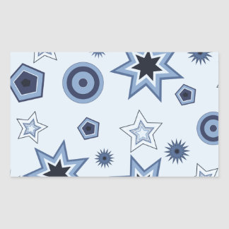 Stars and Shapes in Blue Rectangular Sticker