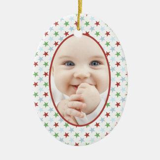 Stars and Smiles Christmas Photo Ornament