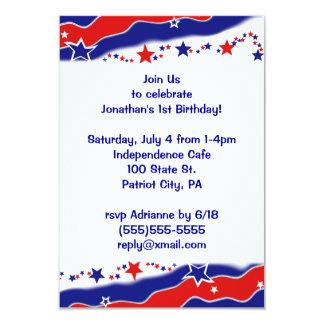 Stars and Stripes 9 Cm X 13 Cm Invitation Card