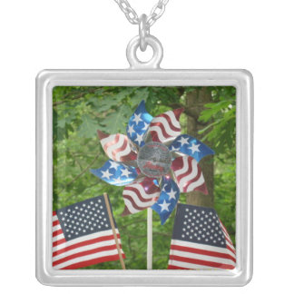 Stars and Stripes and Flags Square Pendant Necklac
