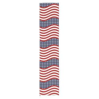 """STARS AND STRIPES FOREVER! American flag 14"""" X 72"""" Short Table Runner"""