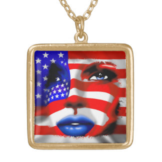 Stars and Stripes Girl's Portrait Necklace