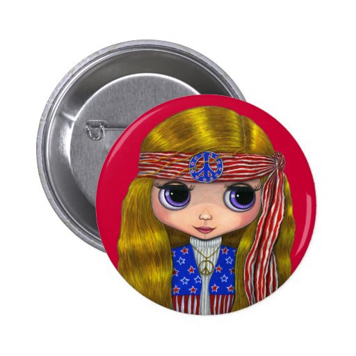 Stars and Stripes Hippie 4th of July Button