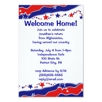 Stars and Stripes Military Welcome Home 9 Cm X 13 Cm Invitation Card