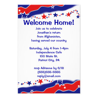 Stars and Stripes Military Welcome Home Invitations
