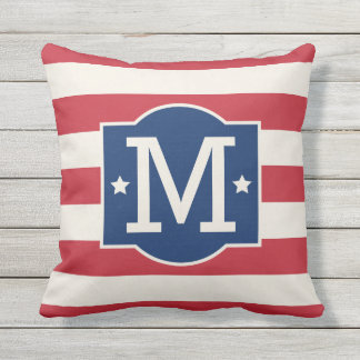 Stars and Stripes Monogram | Patriotic Outdoor Cushion