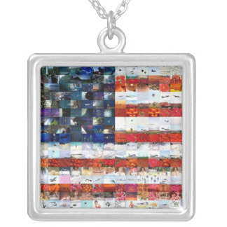 Stars and Stripes Montage Square Pendant Necklace