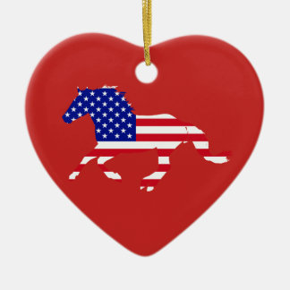 Stars and Stripes Mustang Red & Blue Heart Ceramic Ornament