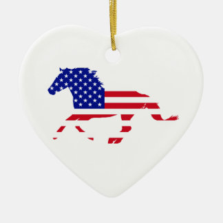 Stars and Stripes Mustang White Heart Ceramic Ornament