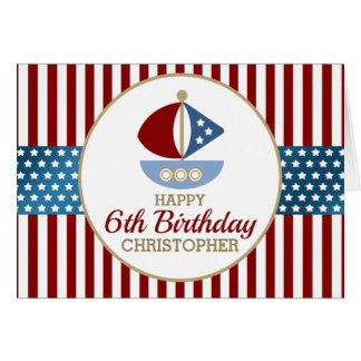 Stars and Stripes Nautical Birthday Greeting Card