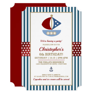 Stars and Stripes Nautical Birthday Party Card