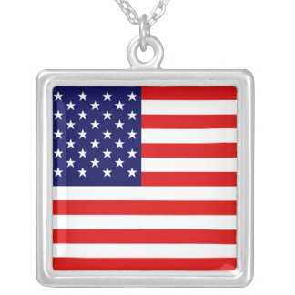 Stars and Stripes Square Pendant Necklace