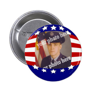 Stars and Stripes Patriotic Custom Photo Red White 6 Cm Round Badge