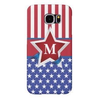 Stars and Stripes Patriotic Monogram Samsung Galaxy S6 Cases