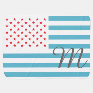 Stars and Stripes personalized monogram Baby Blanket