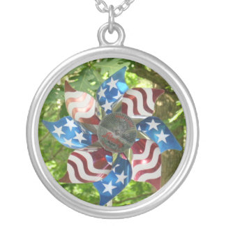 Stars and Stripes Pinwheel Pendant Necklace