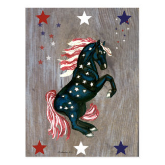 Stars and Stripes Rearing Stallion  Postcard