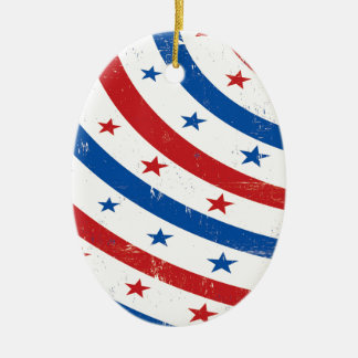 Stars and Stripes Red, White and Blue Ceramic Oval Decoration