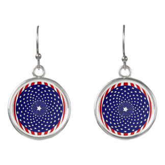 Stars and Stripes Red White Blue Fireworks Earrings