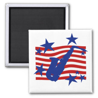 Stars and Stripes Saxophone Square Magnet