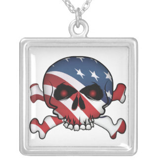 Stars and Stripes Skull Square Pendant Necklace
