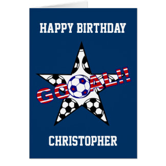 Stars and Stripes Soccer Goal Happy Birthday Card