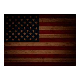 Stars and Stripes (vintage wood U.S. flag) Poster