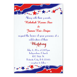 Stars and Stripes Wedding 9 Cm X 13 Cm Invitation Card
