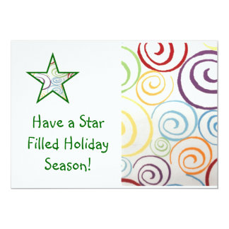 Stars and Swirls Photo Card 13 Cm X 18 Cm Invitation Card