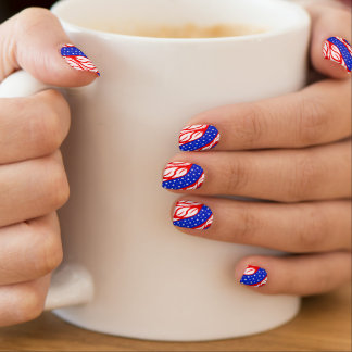 Stars and Swirls Red White Blue Minx Nail Wraps