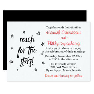 Stars Black, White & Red Wedding Dreams Love Card