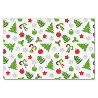 Stars Christmas Trees Candy Canes Baubles Pattern Tissue Paper