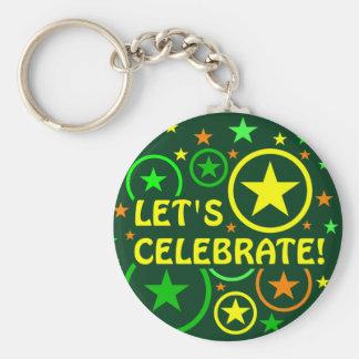 "STARS & CIRCLES key chain - ""Let's celebrate!"""