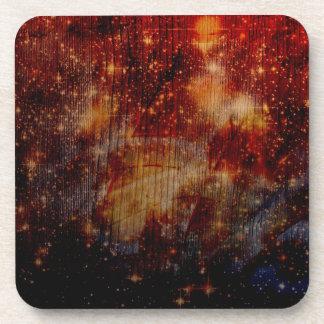 stars falling down abstract coaster