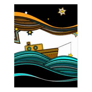 stars fishing postcard