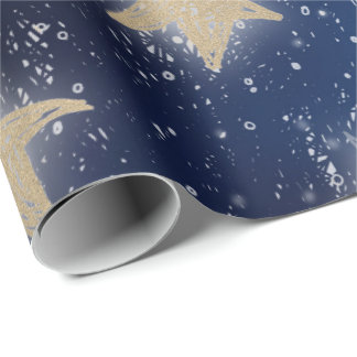 Stars Galaxy Sky Navy Blue Night Gold Painting Wrapping Paper