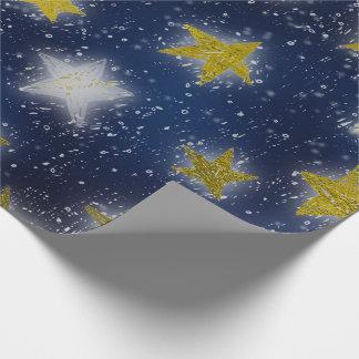 Stars Galaxy Sky Navy Blue Night Mustard Gold Fanc Wrapping Paper