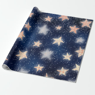 Stars Galaxy Sky Navy Blue Night Rose Gold Blush Wrapping Paper